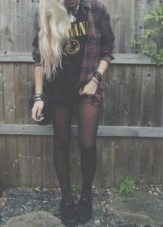 Colour combination rock style girl, alternative rock, indie rock, punk rock, long hair