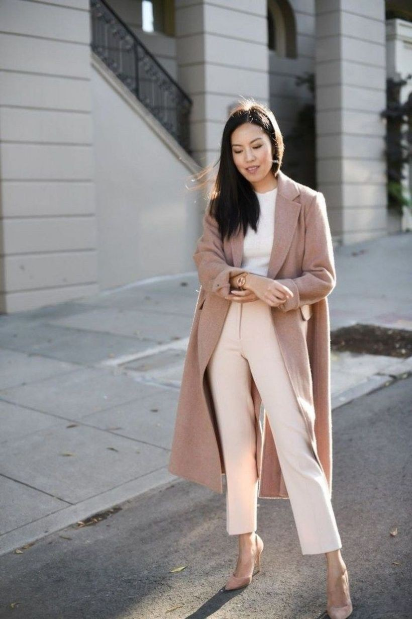 White and pink outfit ideas with business casual, trench coat, trousers, sweater