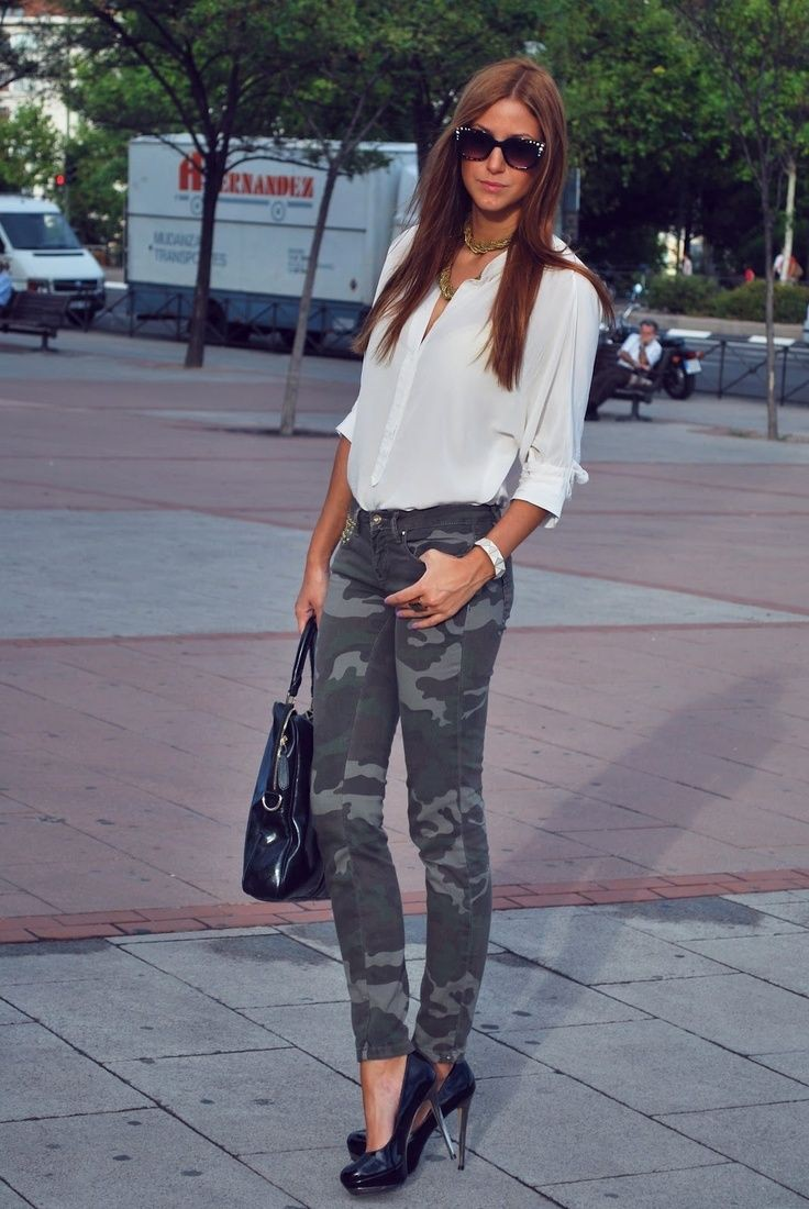 Colour outfit wear camouflage jeans slim fit pants, military camouflage