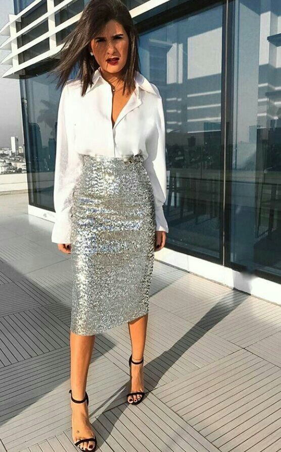 White clothing ideas with fashion accessory, pencil skirt, blouse