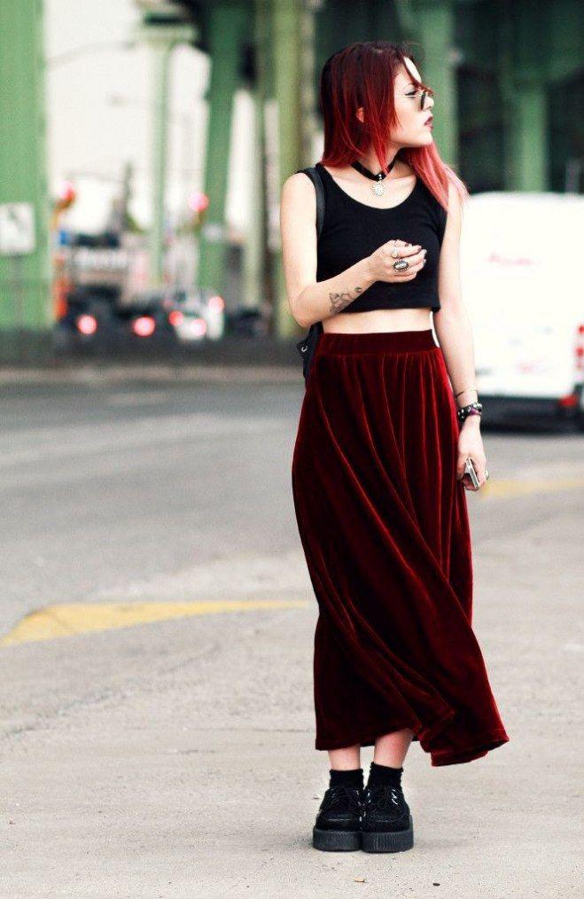 Black velvet maxi skirt outfit