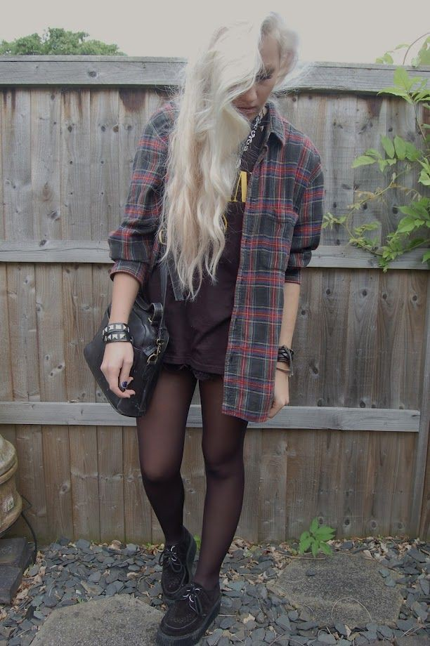 Brown colour dress with shorts, tights, tartan