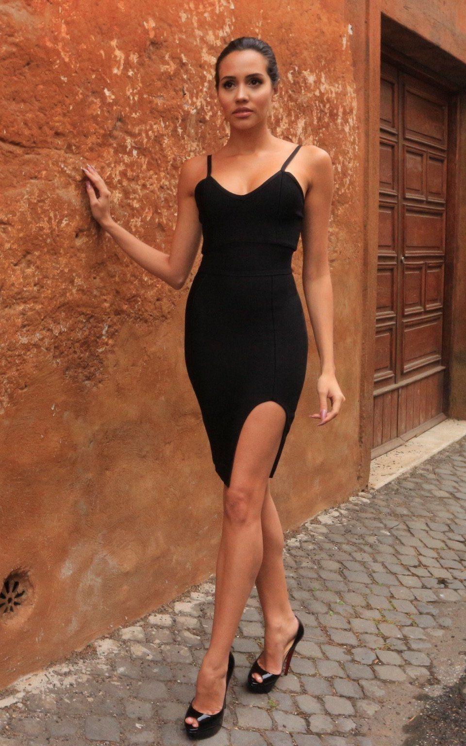 Black slip dress high slit