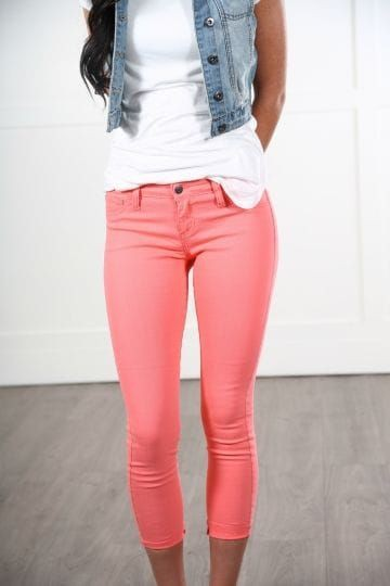 Outfit ideas outfit jeans coral slim fit pants, casual wear