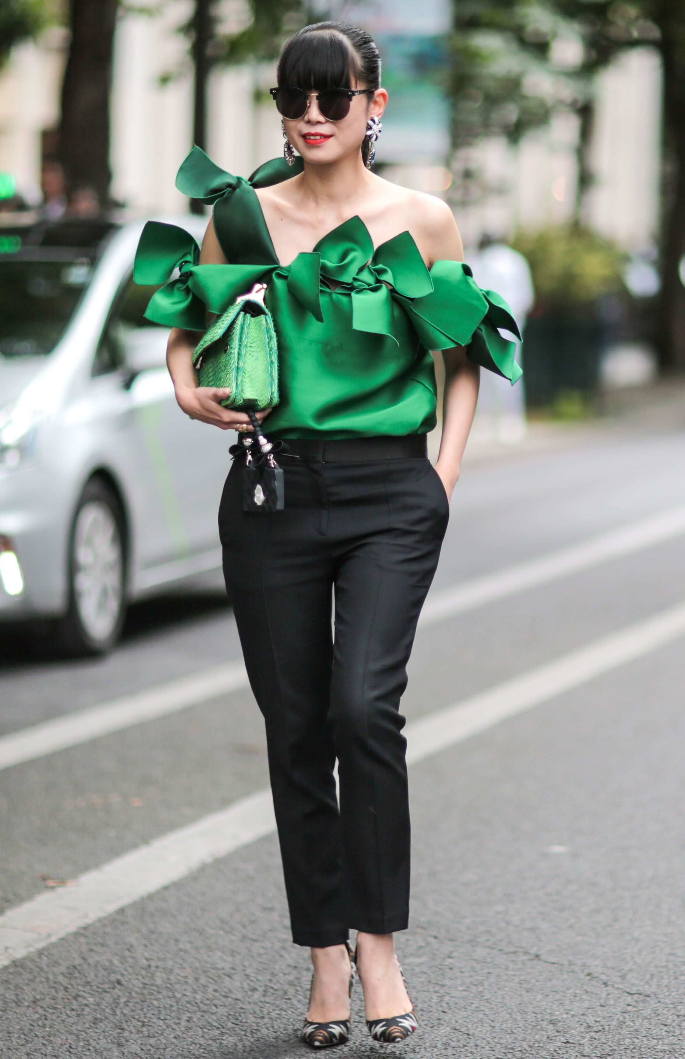 Green colour dress with