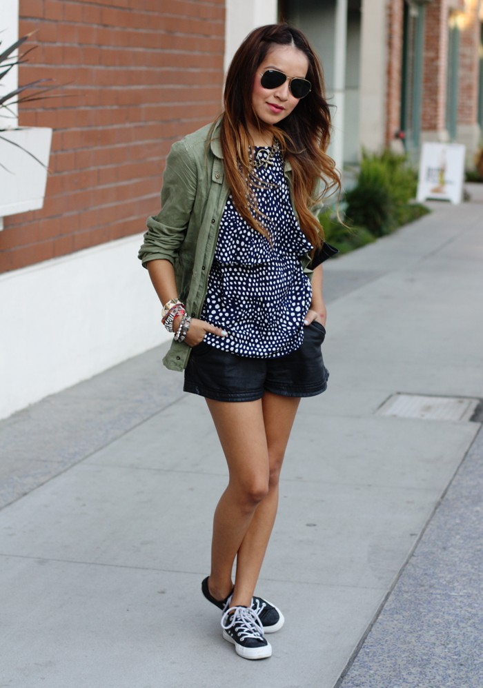 White colour ideas with polka dot, blazer, shorts