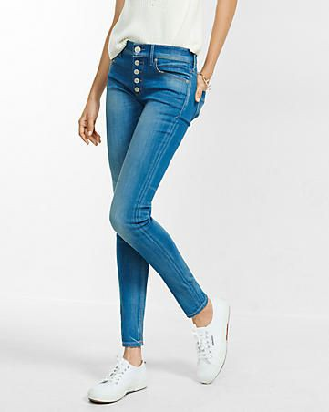 Express mid rise button fly jean legging
