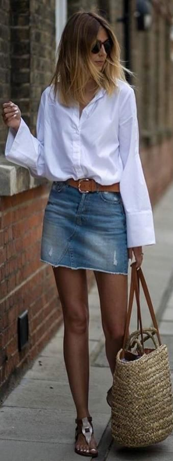 White and blue colour outfit, you must try with miniskirt, shorts, shirt