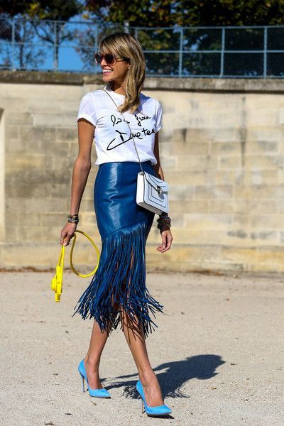 Colour outfit fringe street style suede fringe skirt, paris fashion week