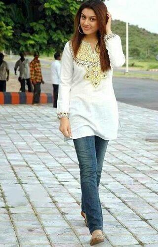 Ladies jeans and kurta, street fashion, fashion model, casual wear, kurti top