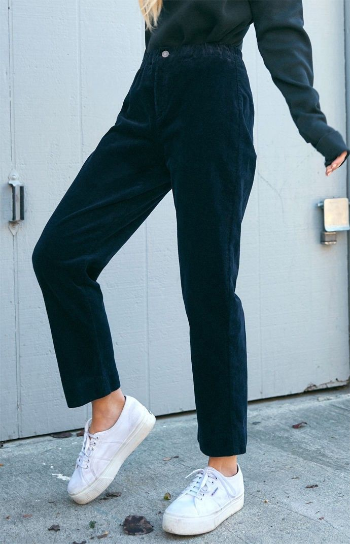 Navy corduroy pants outfit, brandy melville, navy blue, high rise, john galt