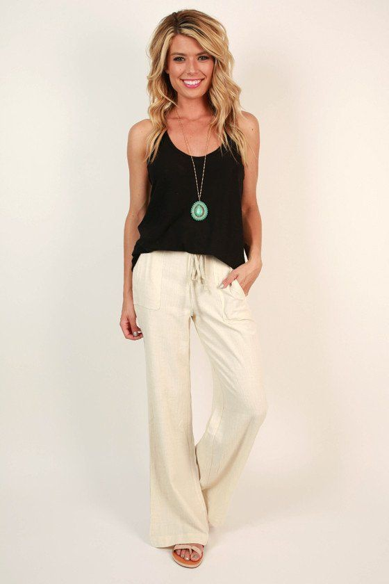 Linen pants with tank, fashion model, dress shirt, photo shoot, t shirt