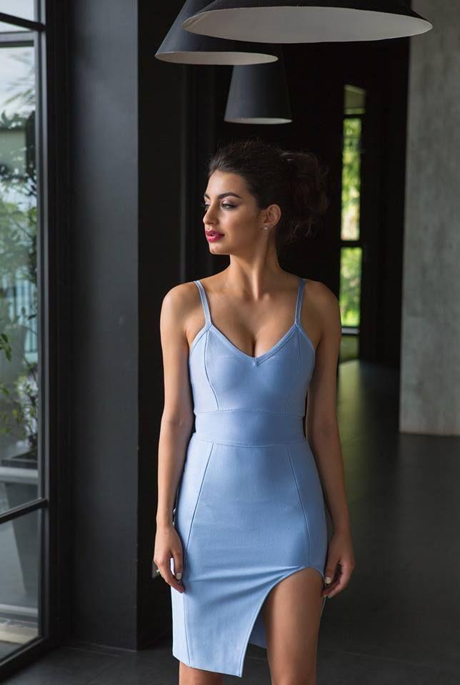 Light blue slip bandage dress