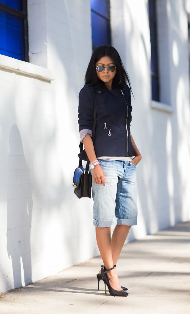 Cobalt blue and white outfit style with bermuda shorts, trousers, jacket