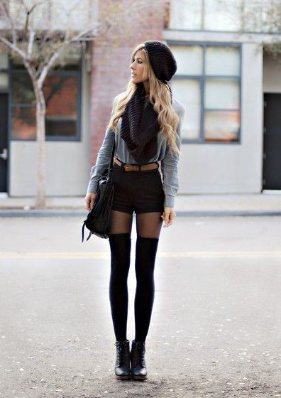 Colour outfit shorts and tights, street fashion, fashion model, knee highs