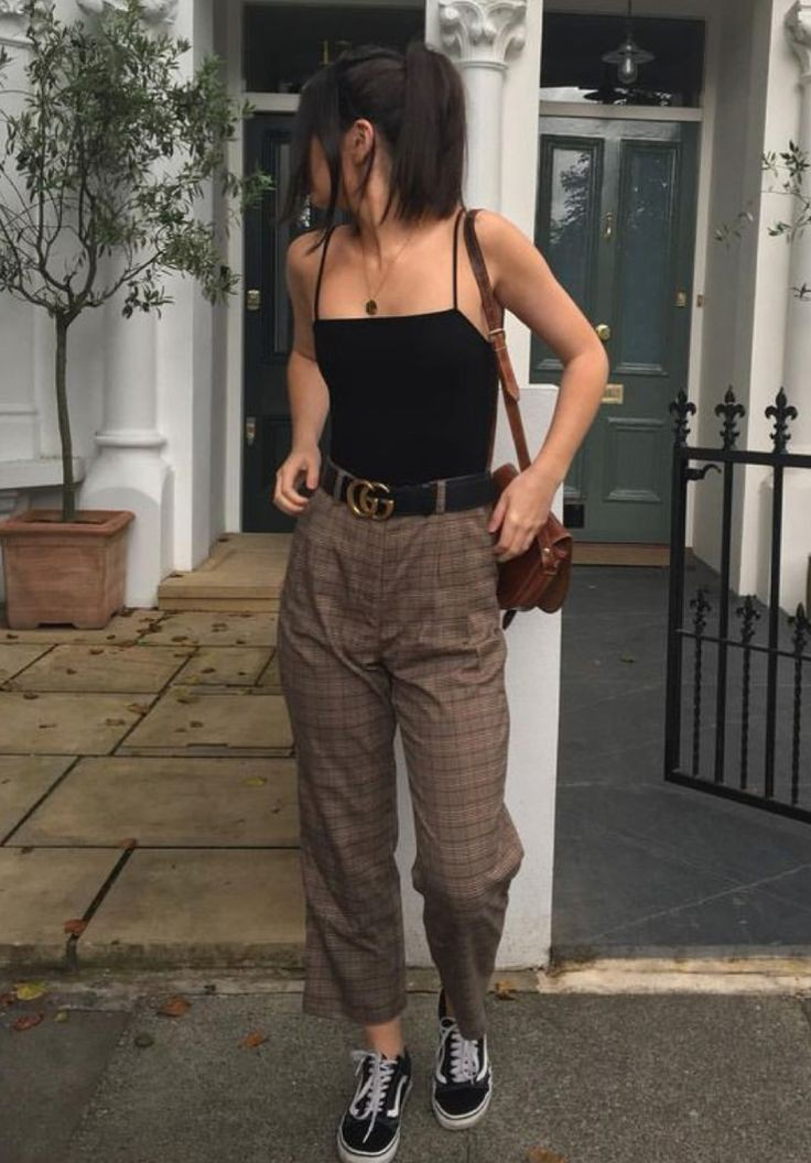Brown colour outfit with vintage clothing, retro style, trousers