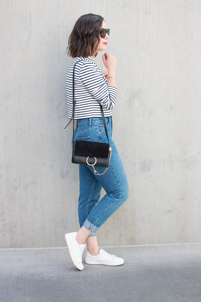 White and blue colour outfit with mom jeans, trousers, denim