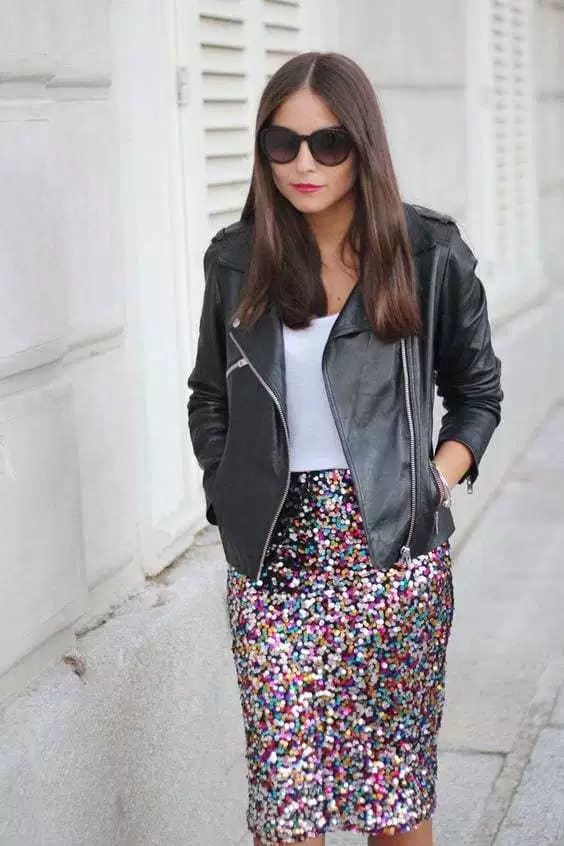 Sequin skirt outfit ideas sequin maxi skirt, leather jacket