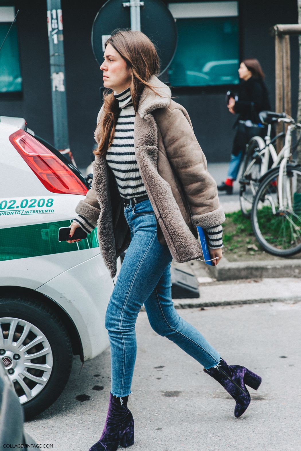Velvet shoe street style, street fashion