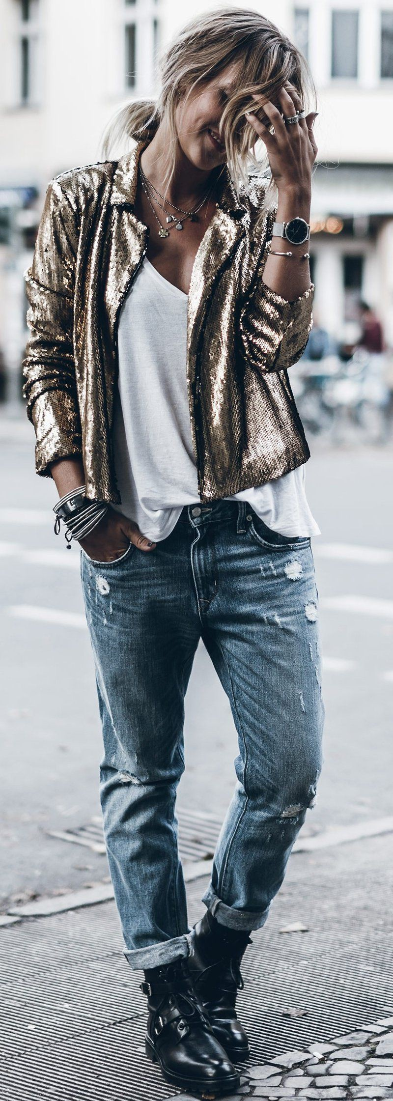 Colour outfit with trousers, leather, jacket