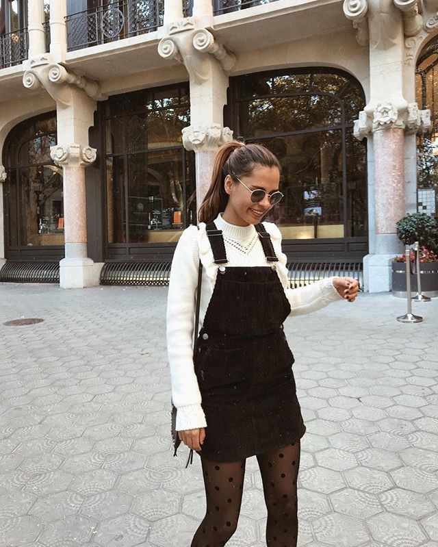 Overall dress with sweater black and white, street fashion