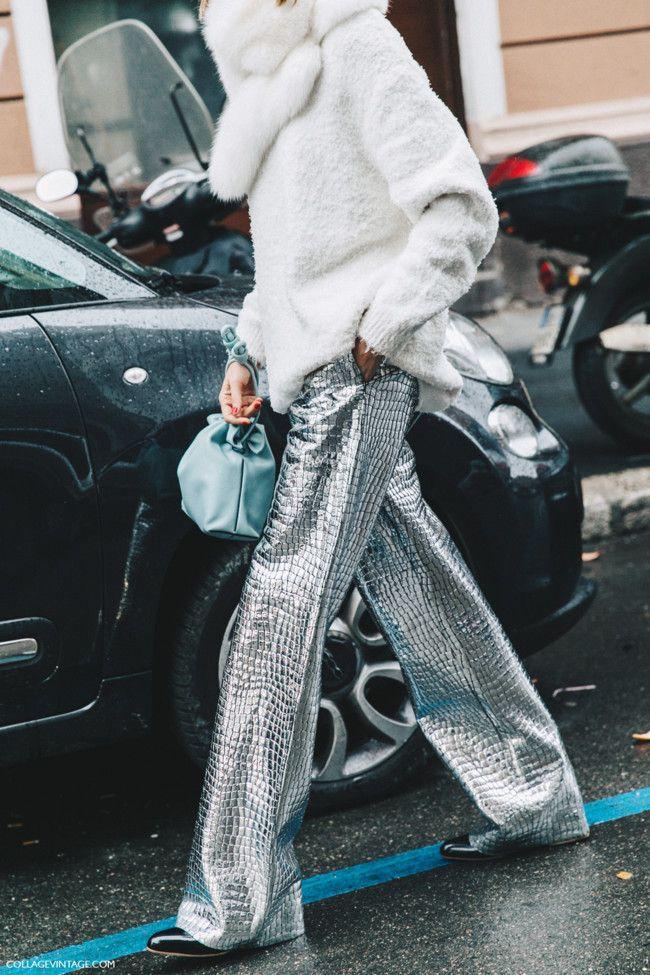 Metallic pants street style paris fashion week, parachute pants
