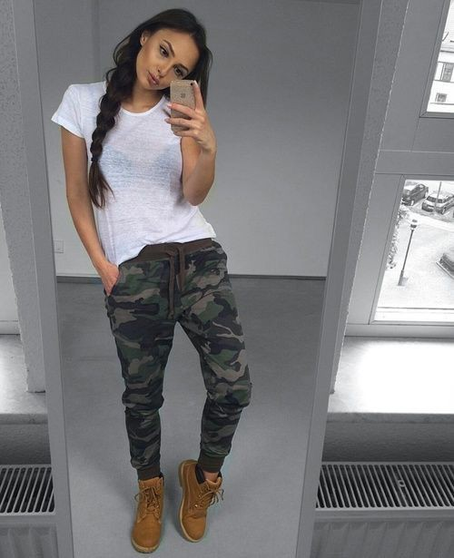 Cargo pants with timberland boots women