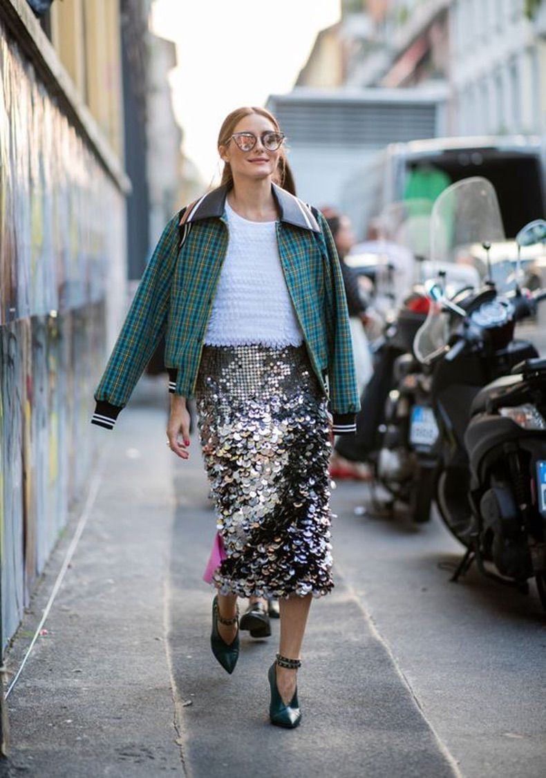 Street style sequin skirt, fashion accessory, street fashion, haute couture, fashion model, penc ...