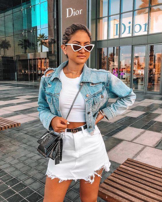 White denim skirt outfit, street fashion, jean jacket, denim skirt, crop top
