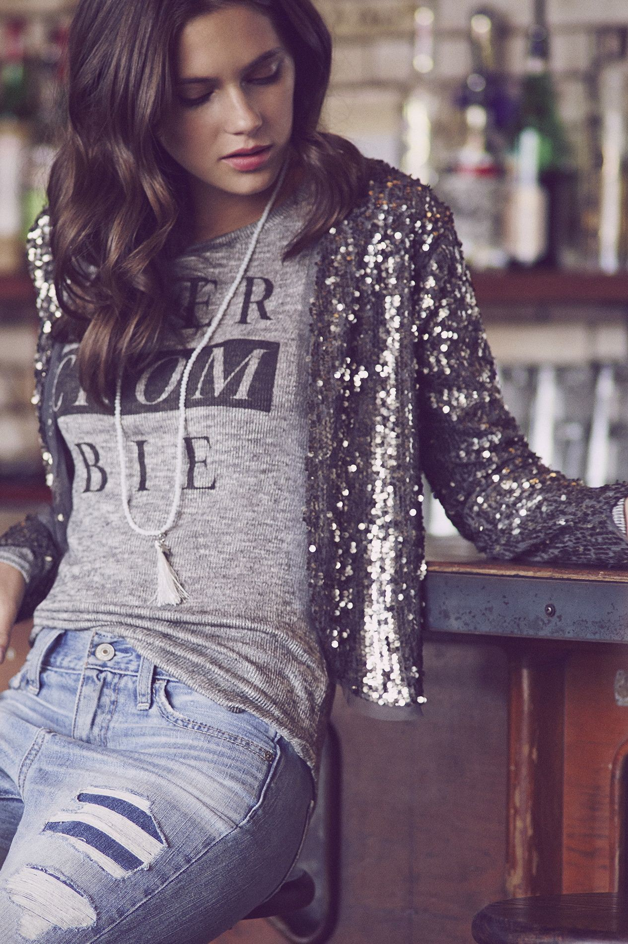 Silver sequin blazer with jeans