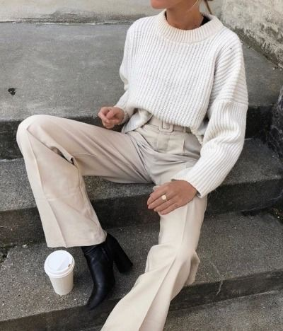 Beige and white colour outfit, you must try with trousers, shorts, jacket
