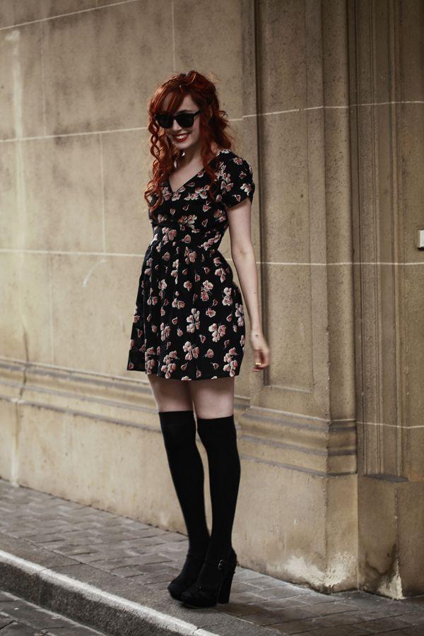 Black instagram dress with miniskirt, stocking, sweater