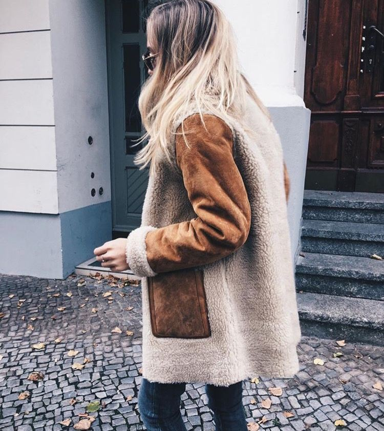 Colour outfit ideas 2020 with leather jacket, fur clothing, overcoat