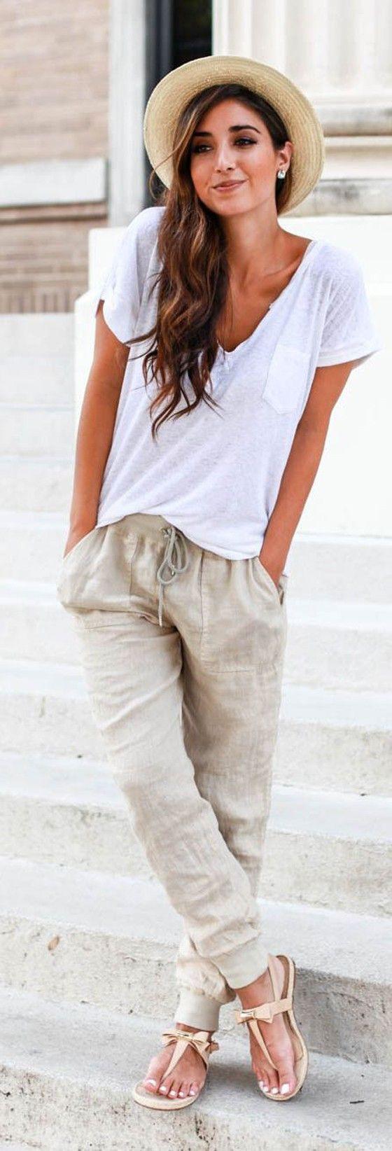 Casual simple beach outfit, street fashion, casual wear, t shirt