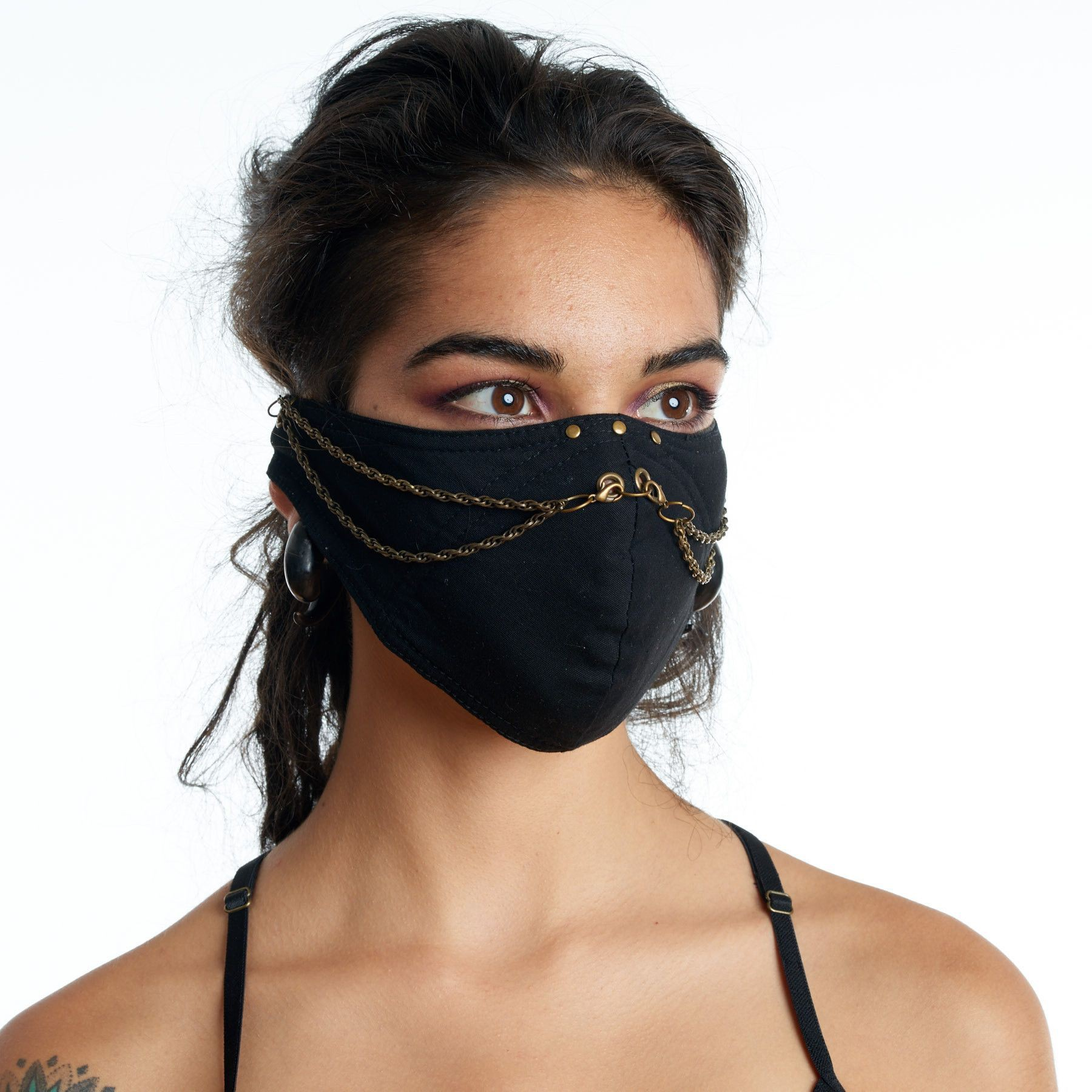 Black ninja face mask personal protective equipment, fashion accessory