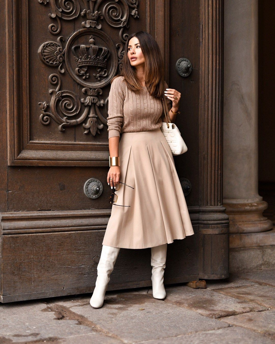 Fashionnova clothing ideas beige skirt winter, street fashion