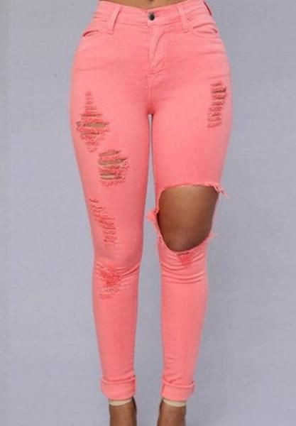 Pink colour outfit ideas 2020 with ripped jeans, sportswear, trousers