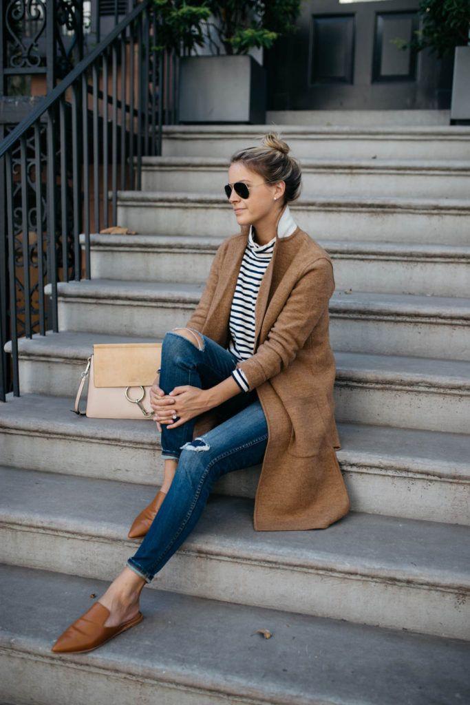 Instagram fashion camel sweater coat, street fashion, polo neck