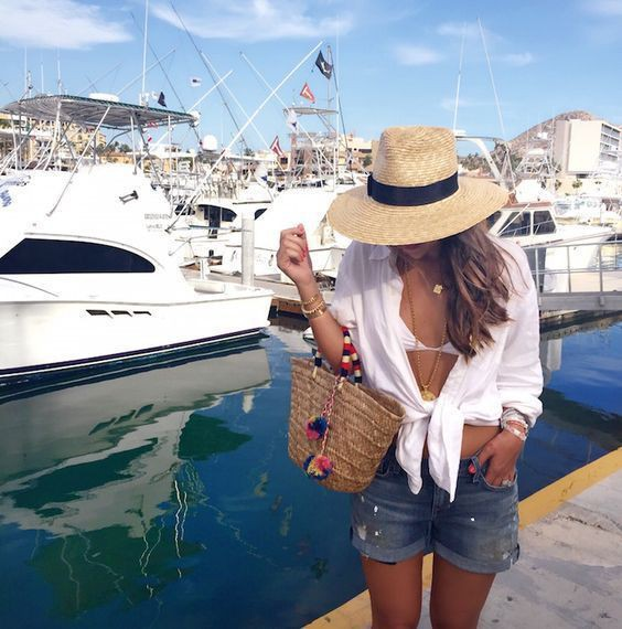 Instagram fashion womens boat outfits, fashion accessory, romper suit, boat shoe, sun hat