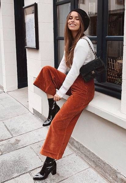 Orange style outfit with trousers, skirt, jeans