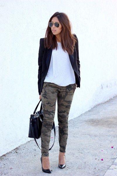 Outfit ideas usar pantalones militares, street fashion