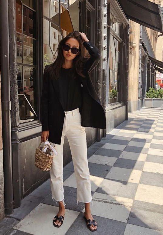 Love this casual street fashion – very European. | Summer Outfit Ideas 2020