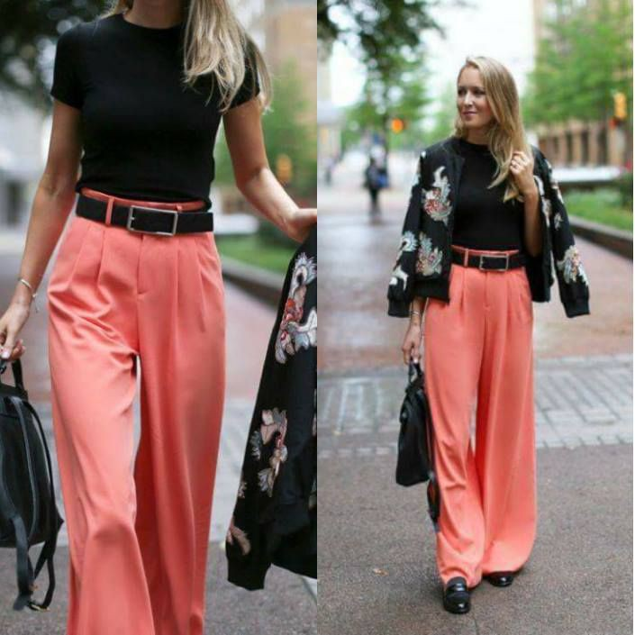 Womens coral pants outfit, business casual, street fashion, palazzo pants, navy blue, crop top