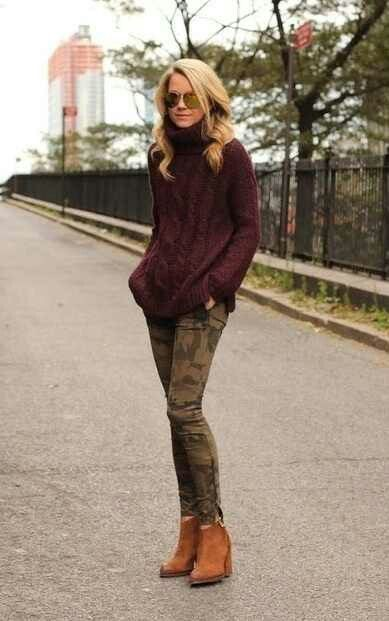 Winter outfit with camo skinny jeans