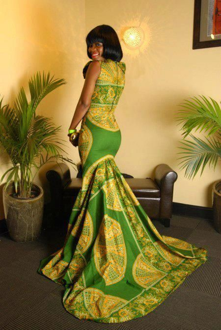 African dress with train african wax prints, wedding dress