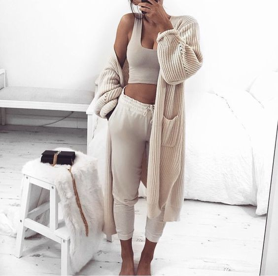 Beige and white clothing ideas with nightwear, crop top, trousers