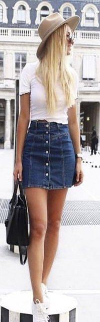 Colour dress preppy mini skirt, street fashion, casual wear, denim skirt, jean short, t shirt