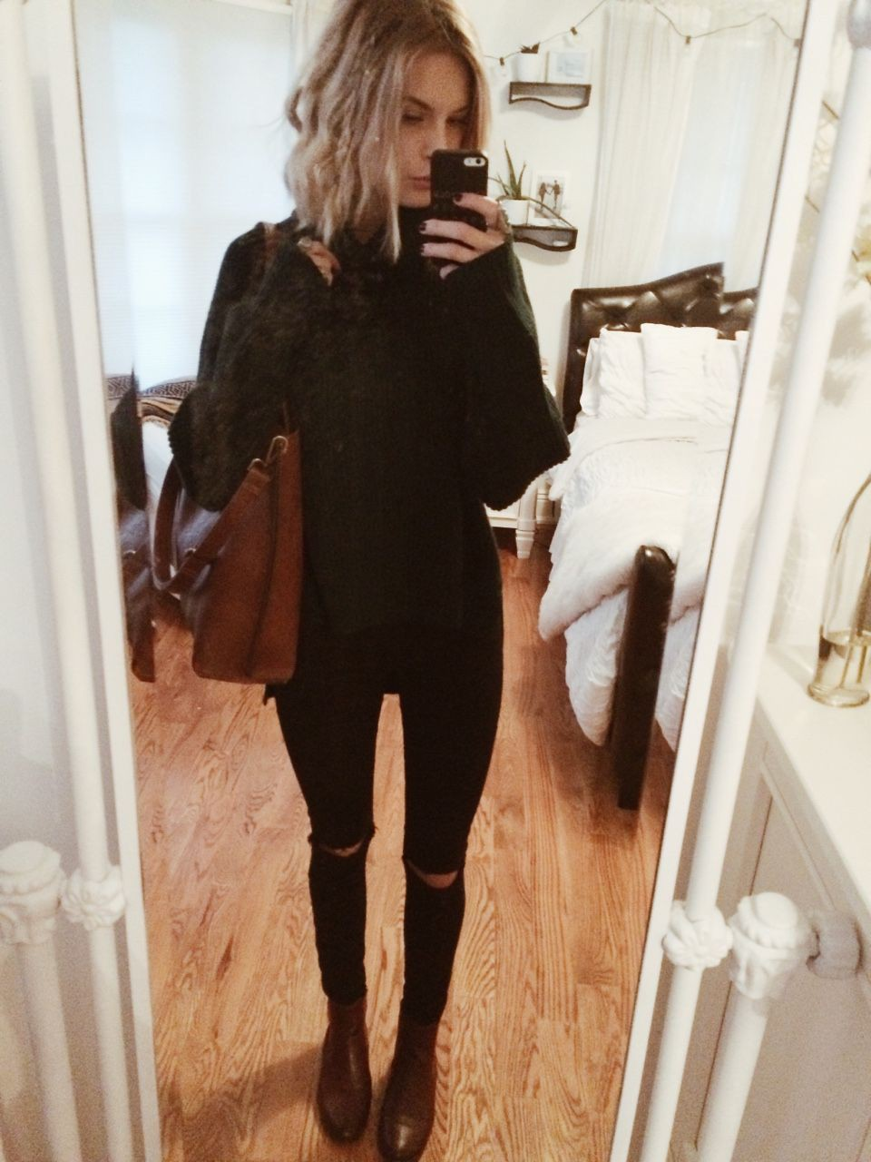 Brown and black colour outfit, you must try with leggings, tights, denim