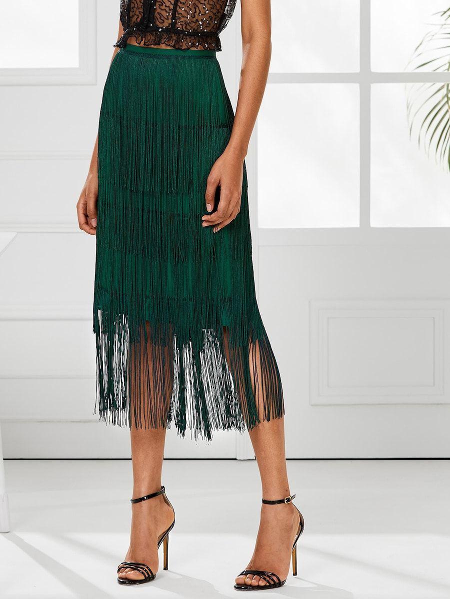 Midi tassel fringe skirt, cocktail dress, fashion model, pencil skirt