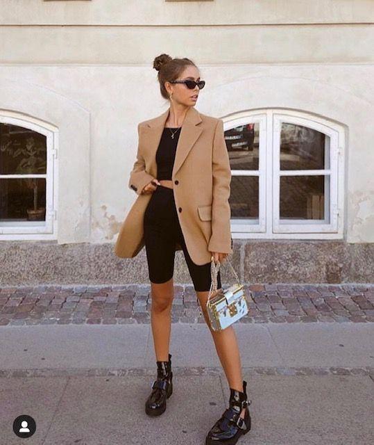 Oversized blazer and shorts, bermuda shorts, cycling shorts, street fashion, casual wear, crop t ...